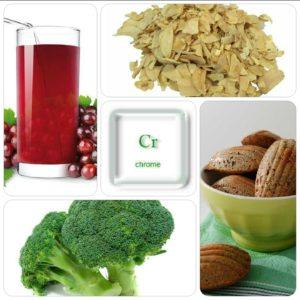 Meilleures sources de chrome : ail séché, brocoli, farine complète, jus de raisin, ...