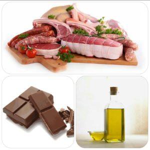 Principales sources d'acides gras saturés : viandes, chocolat, huiles végétales