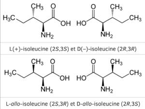 Les 4 isomères de l'isoleucine