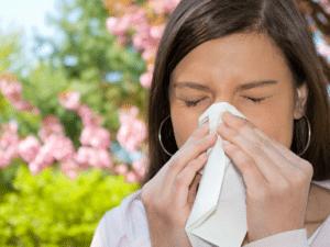 Symptômes de la rhinite allergique : congestion nasale, écoulement nasal, éternuements, larmoiement, démangeaisons des narines, ...
